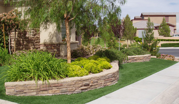 Outdoor plan idea residential landscape design orange for Front yard without lawn